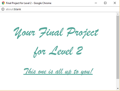 Your Final Project for Level 2