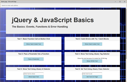 Events, Functions and Error Handling