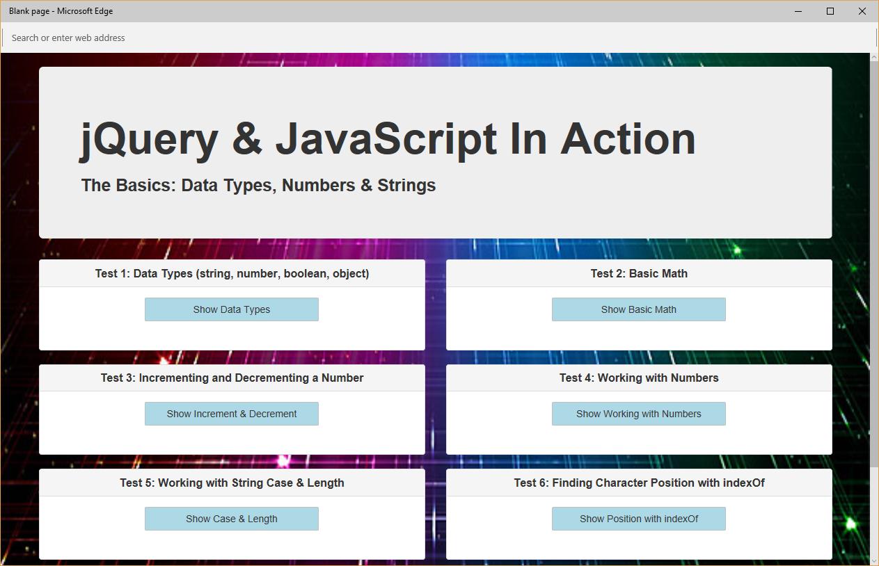 Data Types, Numbers & Strings