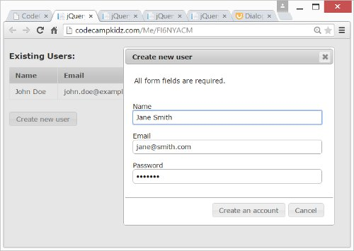JQuery Modal Form Dialogs